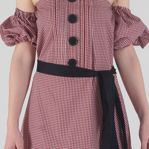 Red Gingham Pleated Off Shoulder Asymmetrical Ionic Dress detail