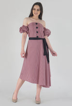 Load image into Gallery viewer, Red Gingham Pleated Off Shoulder Asymmetrical Ionic Dress style