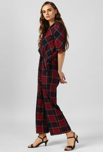 Red Plaid Check Jumpsuit