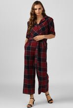 Load image into Gallery viewer, Red Plaid Check Jumpsuit
