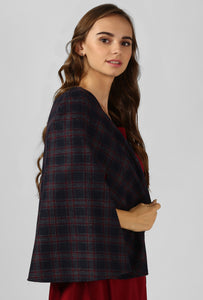 Red Plaid Snuggle Up Cape
