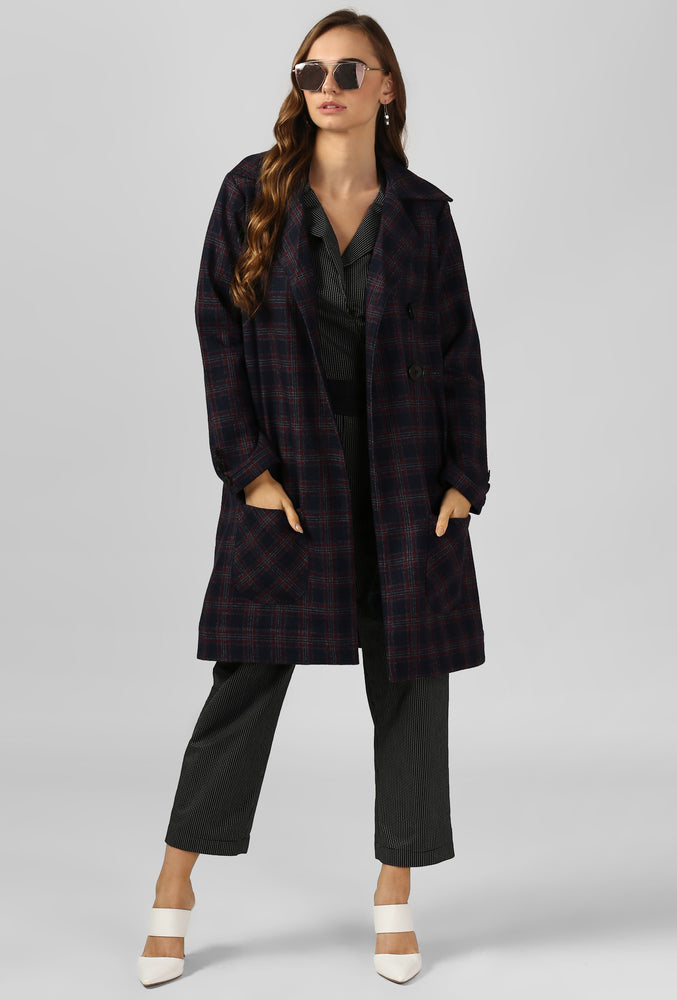 Red Plaid Snuggle Up Long Coat