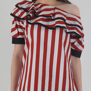 Red-White Stripe Pleated Sleeve Ruffle One Shoulder Top detail