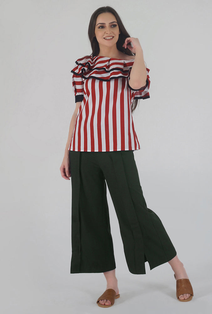 Red-White Stripe Pleated Sleeve Ruffle One Shoulder Top style