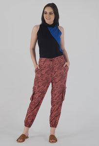 Salmon Camouflaged Stripe Jogger Pants crop