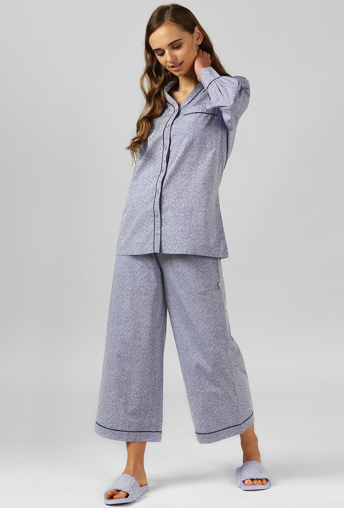 Square Print Pajama Party Night Suit