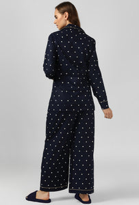 Starry Night Polka Print Night Suit