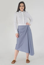 Load image into Gallery viewer, Stripe Draped Asymmetrical Skirt crop