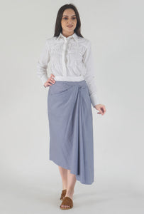 Stripe Draped Asymmetrical Skirt style