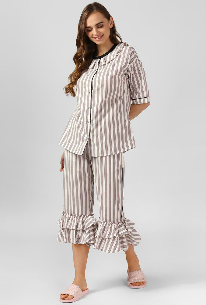 Stripe Frilled Play Up Night Suit