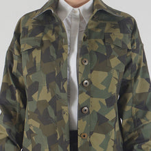 Load image into Gallery viewer, Teal Camouflage Appliqued Denim Jacket