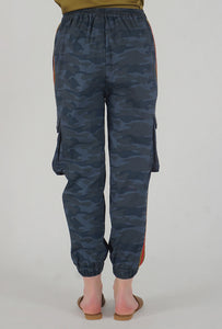 Teal Camouflaged Stripe Jogger Pants back