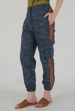 Load image into Gallery viewer, Teal Camouflaged Stripe Jogger Pants detail