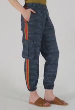 Load image into Gallery viewer, Teal Camouflaged Stripe Jogger Pants side