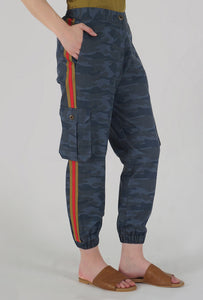 Teal Camouflaged Stripe Jogger Pants side