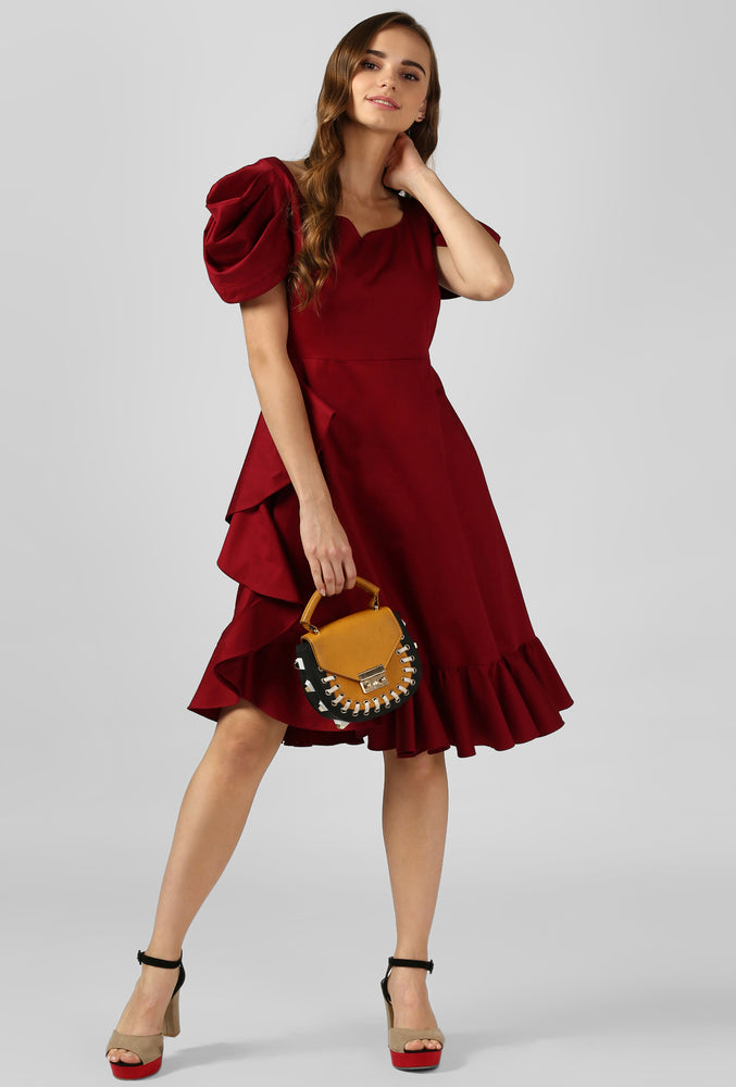 Wine Satin Cowl Sleeve Evening Dress