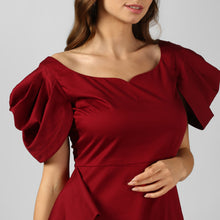 Load image into Gallery viewer, Wine Satin Cowl Sleeve Evening Dress