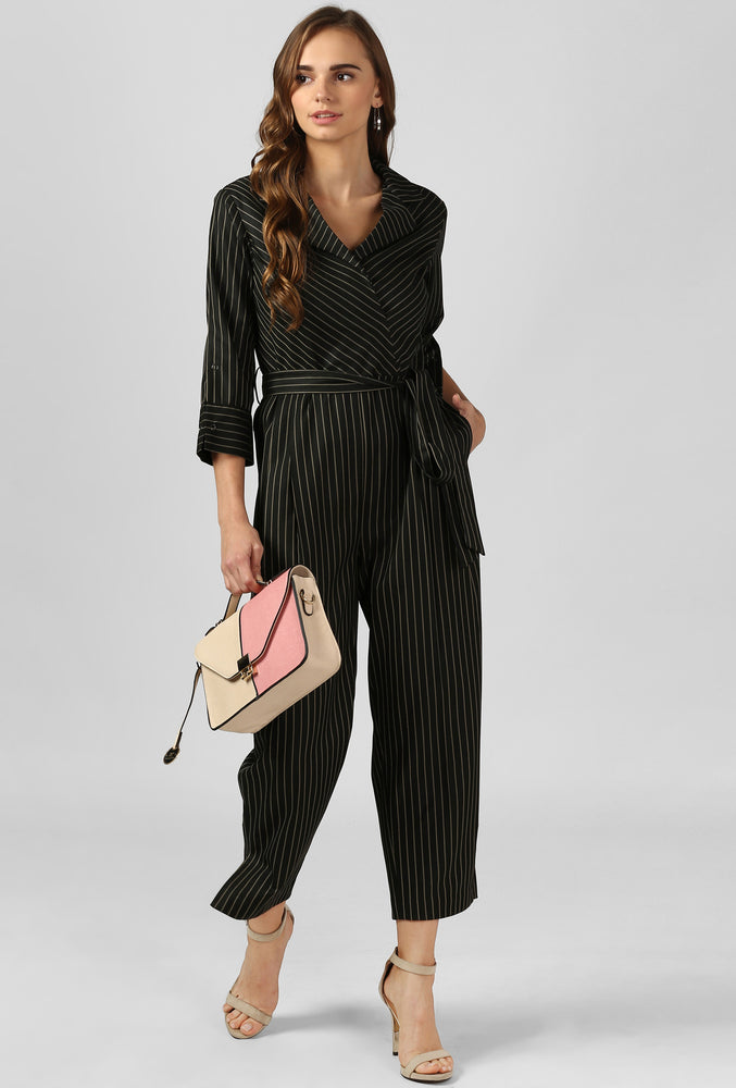 Yellow Stripe Charcoal Grey Jumpsuit
