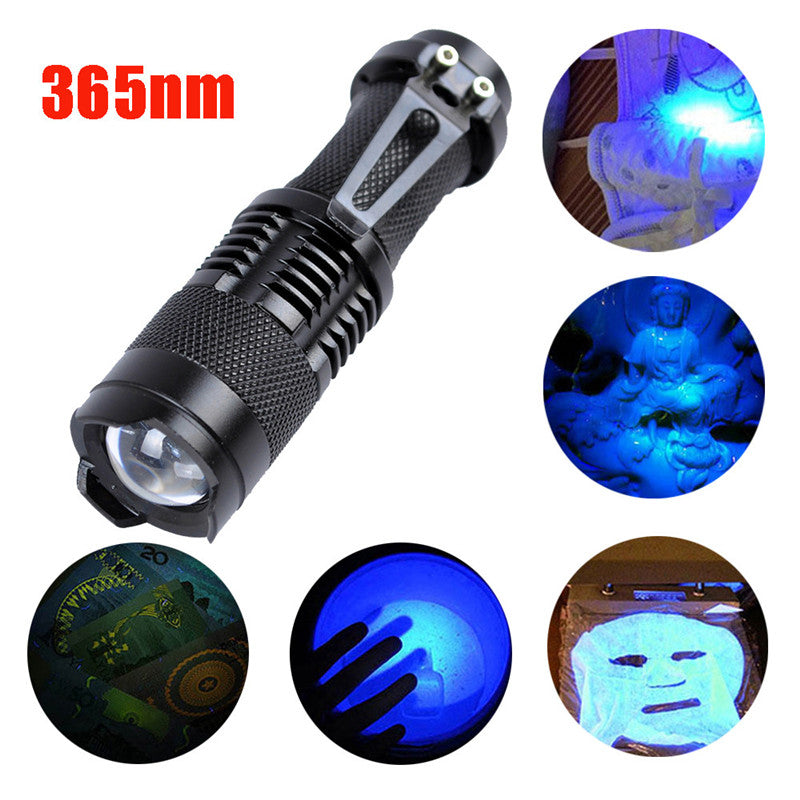Zoomable Led UV Flashlight Torch Light