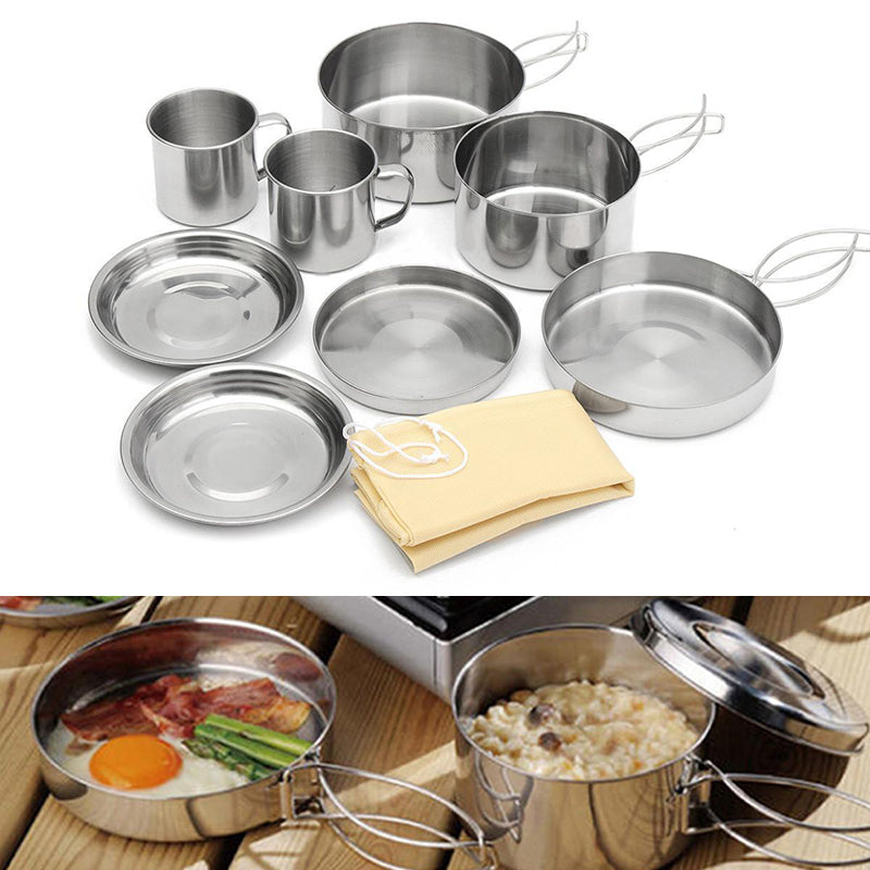 8 Pcs Set Stainless Steel Outdoor Picnic Pot Kit Cookware Plate/Bowl/Cup/Pan