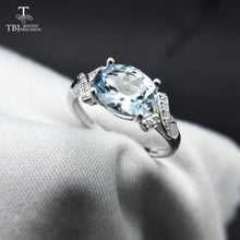 Load image into Gallery viewer, 925 Sterling Silver Ring with Natural Brazil Aquamarine Oval 6x8, 1.3ct Gemstone / Comes With Gift Box / Fine Jewellery for Women