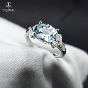 925 Sterling Silver Ring with Natural Brazil Aquamarine Oval 6x8, 1.3ct Gemstone / Comes With Gift Box / Fine Jewellery for Women