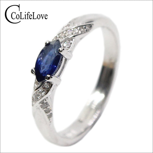 Sterling Silver Ring with 3x6 mm Natural Sapphire Gemstone / Fashion Jewellery for Women