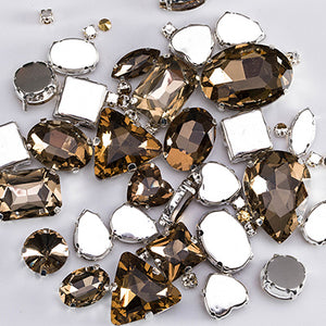 Glitter Crystal Sew On Rhinestones With Claw / Colorful Stones of Mixed Shapes /  Glass Rhinestones For Garments - 50PCS / PACK