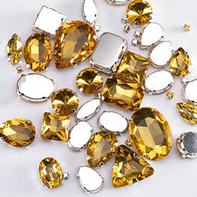 Load image into Gallery viewer, Glitter Crystal Sew On Rhinestones With Claw / Colorful Stones of Mixed Shapes /  Glass Rhinestones For Garments - 50PCS / PACK