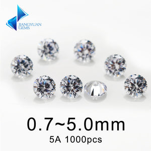 White Cubic Zirconia Stones - Round Cut / Choose from 0.8~5.0mm with 1000pcs per Package  / Synthetic CZ Gems For Jewellery Making