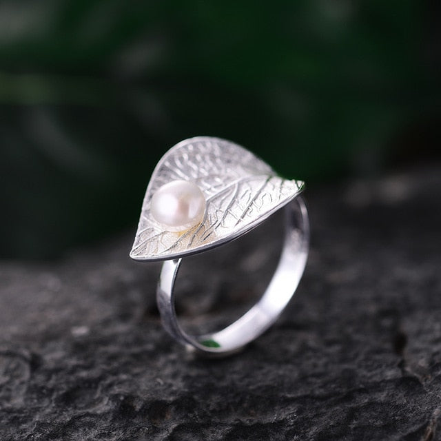 Designer, Hand Crafted 925 Sterling Silver Ring with Natural Pearl