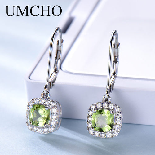 925 Sterling Silver Earrings with 1.36 ct Natural Peridot Gemstone /  Drop Earrings For Women or Girls