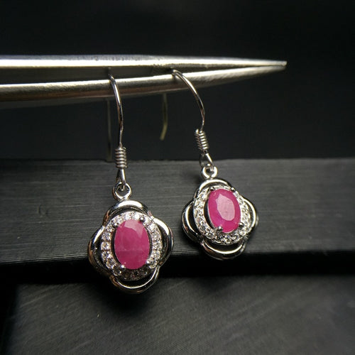 925 Sterling Silver Earrings with Natural Ruby Gemstone for Women / Girls - Comes with Gift Box