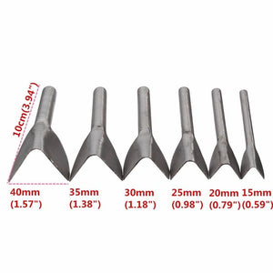 Leather Craft Tools - Half Round or V Shaped Cutter - Leather Punching Hand Tools 6Pcs/set 15mm-40mm