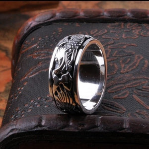 Handmade 925 Sterling Silver Ring / Tibetan Lucky Dragon Turning Ring For Men - Fashion Jewellery