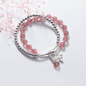 Fashionable Solid 925 Sterling Silver Beaded Bracelet / Strawberry Crystal Beads Strand Bracelet for Women