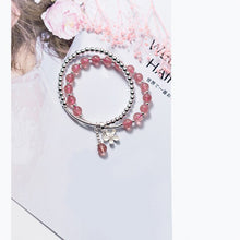 Load image into Gallery viewer, Fashionable Solid 925 Sterling Silver Beaded Bracelet / Strawberry Crystal Beads Strand Bracelet for Women