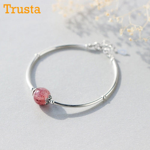 Handmade Womens 925 Sterling Silver Natural Pink Strawberry Crystal Bracelet.