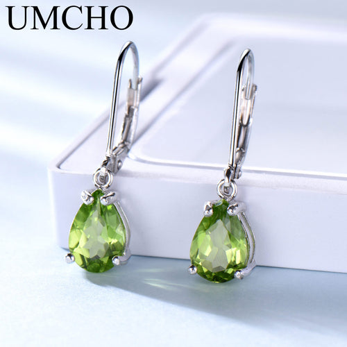 925 Sterling Silver & Natural Peridot Gemstone Earrings / Designer Fashion Jewellery for Women