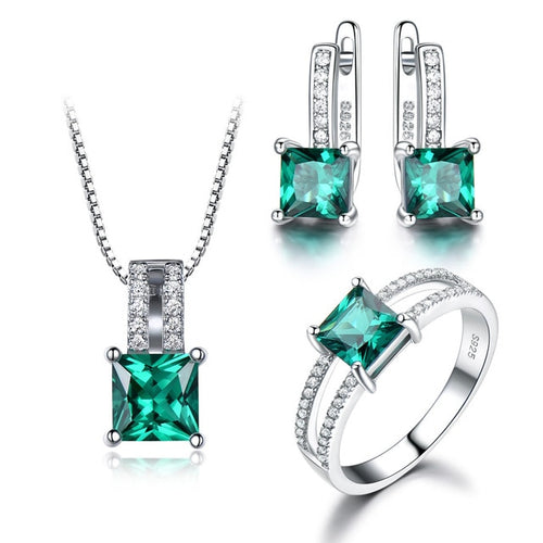 Genuine 925 Sterling Silver & Gemstone Jewelry Set for Women / Ring, Pendant & Stud Earrings