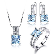 Load image into Gallery viewer, Genuine 925 Sterling Silver & Gemstone Jewelry Set for Women / Ring, Pendant & Stud Earrings