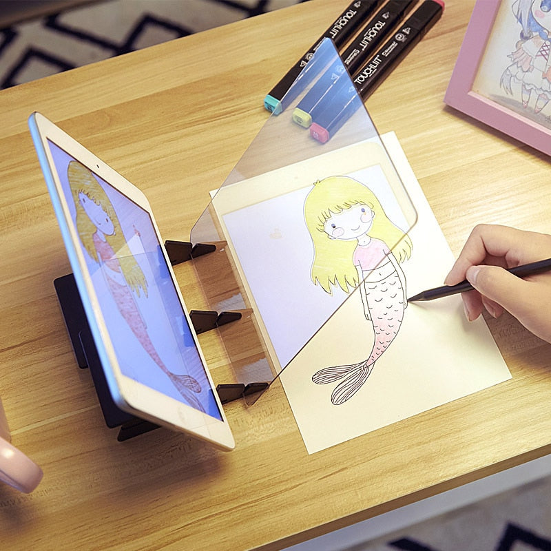 LED Projection Optical Drawing Board / Specular Reflection from Phone / Tablet to Table Top