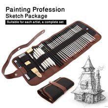 Load image into Gallery viewer, Artist Pencil Sketch Kit in 18 or 36pc Sets / Professional Sketching Drawing Kit - Wood Pencils / Erasers & More