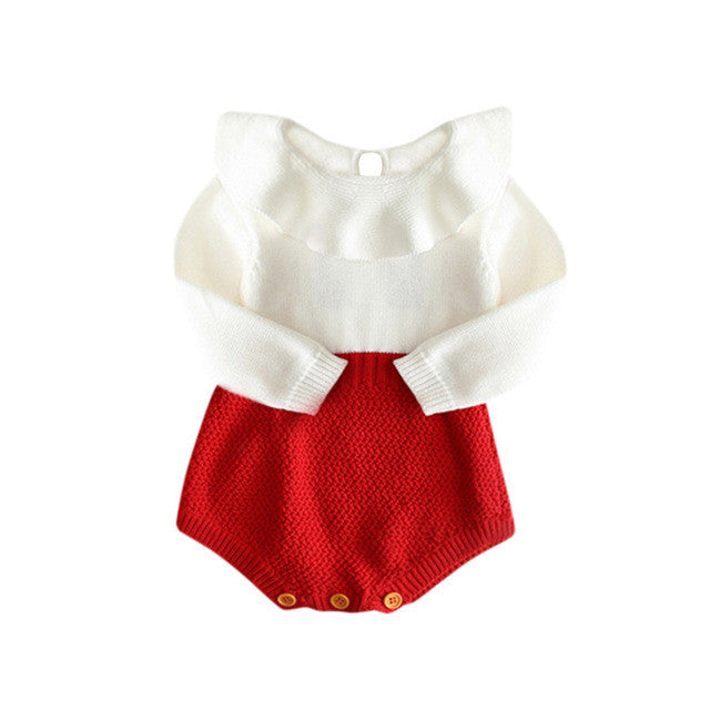 cf437f6a763b5 Kids Girls Romper long sleeve Baby Knitted Sweater Winter Princess Romper  Jumpsuit Baby Clothes drop ship