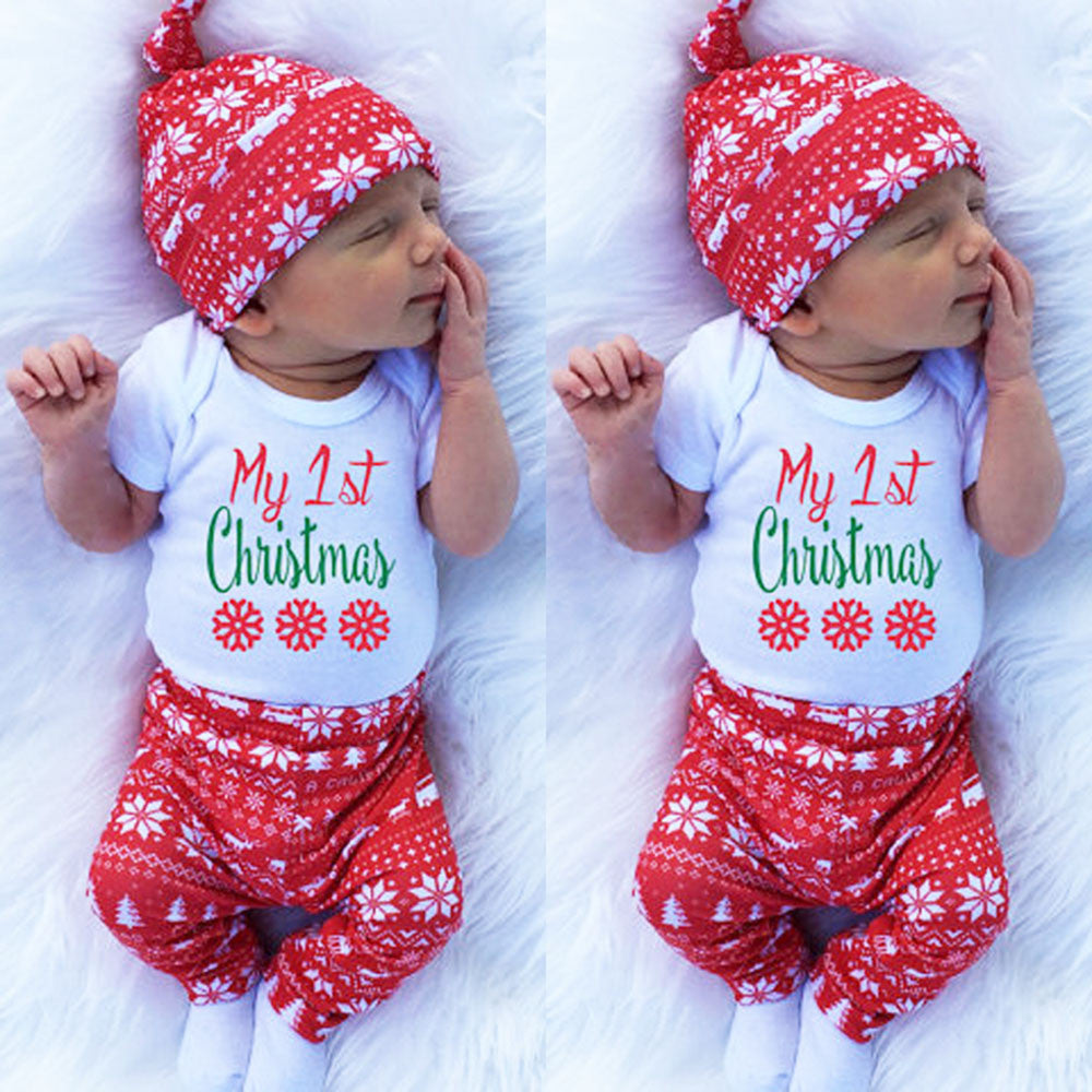 91ed01ab639ce My First Christmas Outfit: Adorable Hat and Romper!
