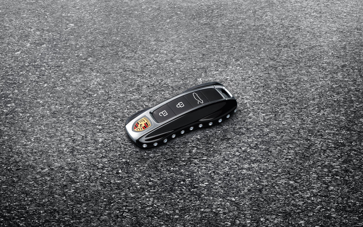 Vehicle key painted in Black (high-gloss), with Swarovski® stones