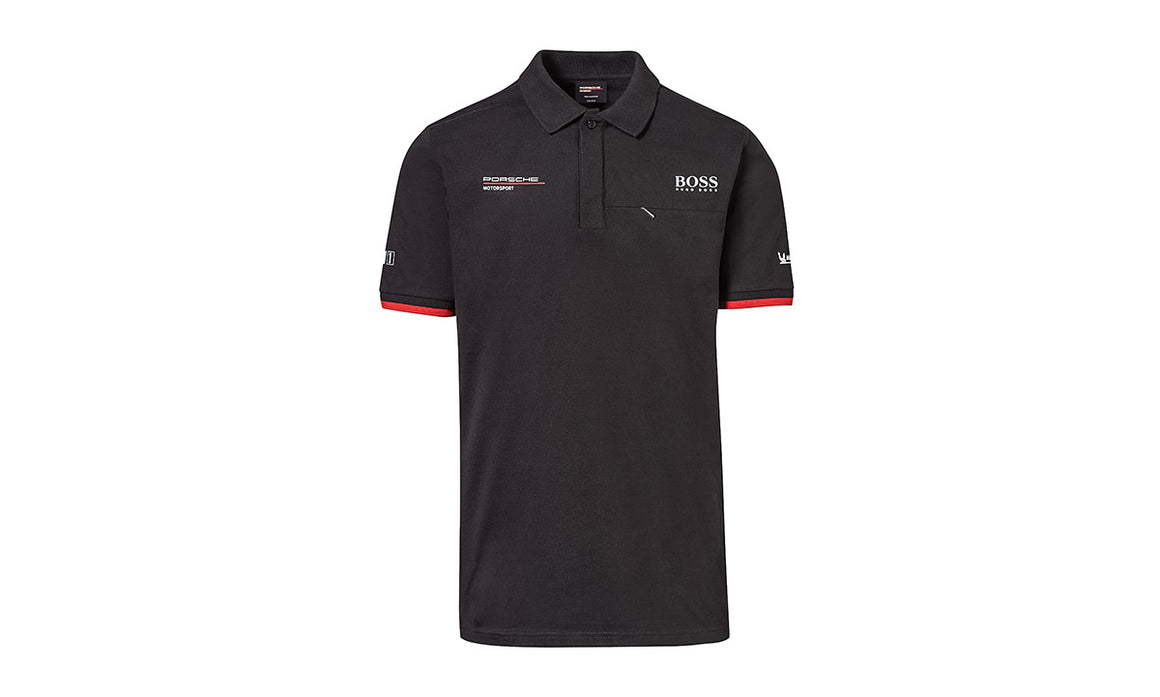 Men's Black Replica, Polo-Shirt Motorsports Collection