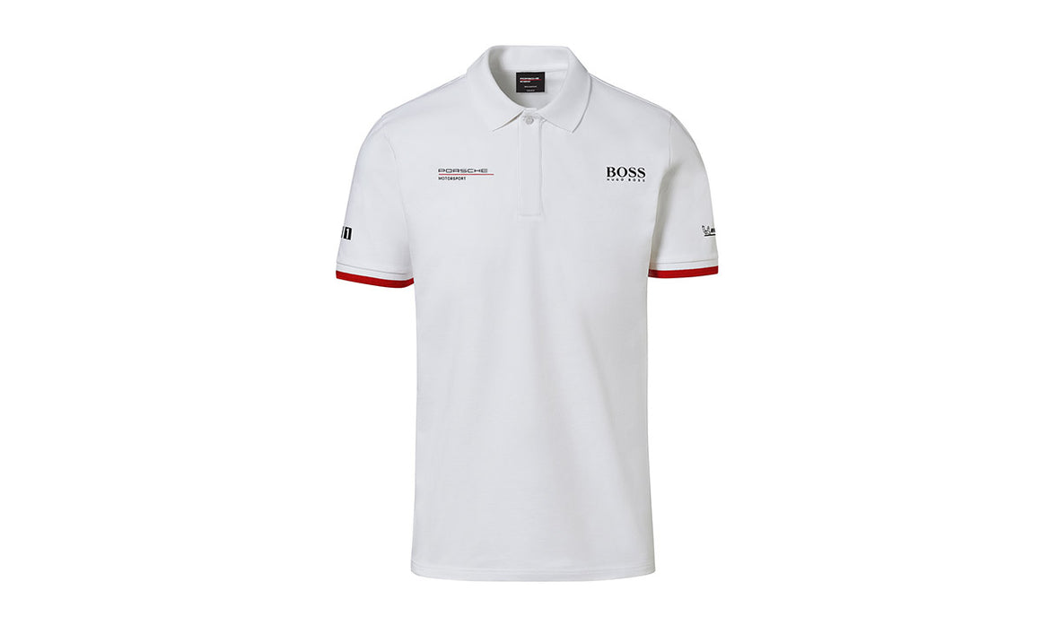 Men's White Replica, Polo-Shirt Motorsports Collection