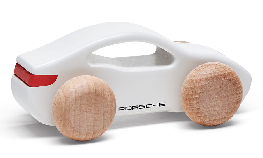 Taycan Collection, Kids White / Red Wooden Toy Car