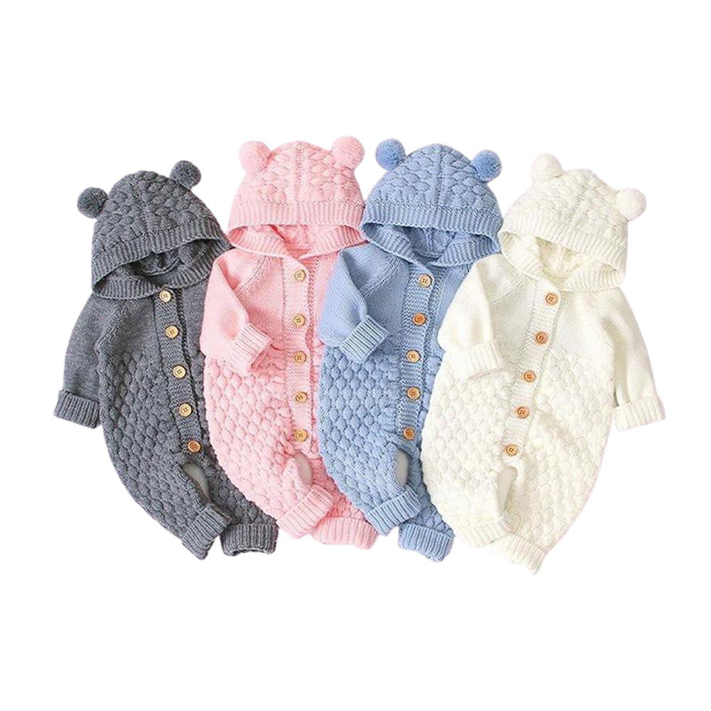 Baby Knitted Hodie Romper -Alure Baby Collections